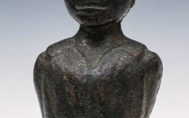 A FOLKY 19TH C. IRON AFRICAN AMERICAN MALE BUST FINIAL