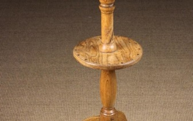A Fine Late 18th/Early 19th Century Ash Two Tiered Tripod Candlestand, possibly Cornish. The burr-fi