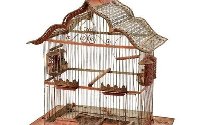 A French wire metal bird cage, late...