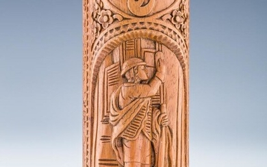 A HAND CARVED WOODEN MEZUZAH. Probably American
