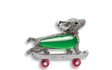 A Jadeite, Rubellite, Ruby and Diamond 'Puppy' Brooch