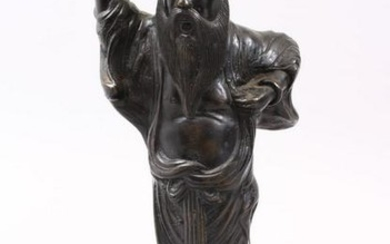 A LATE 19TH CENTURY CHINESE BRONZE FIGURE OF AN