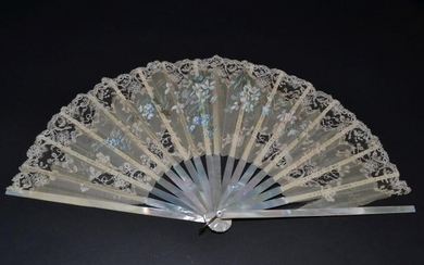 A Large Late 19th Century Silk Gauze and Machine Lace...