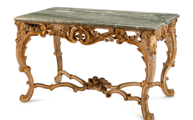 A Louis XV Painted and Parcel Gilt Marble-Top Center Table