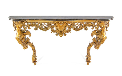 A Louis XV Style Carved Giltwood Faux Marble-Top Console Table
