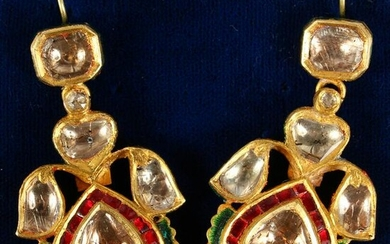 A MATCHING PAIR OF RUBY AND DIAMOND DROP EARRINGS.