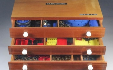 A Meccano No. 10 Set in Four Drawer Cabinet,...