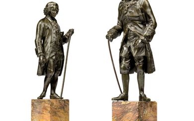 A PAIR OF FRENCH BRONZE FIGURES OF VOLTAIRE AND ROUSSEAU