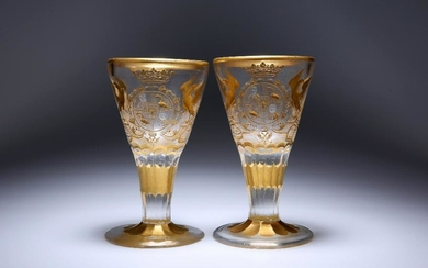 A PAIR OF POTSDAM/ZECHLIN PRESENTATION WINE GLASSES c.