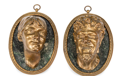 A Pair of French Gilt Bronze and Marble Relief Plaques After Claude Michel (Clodion)