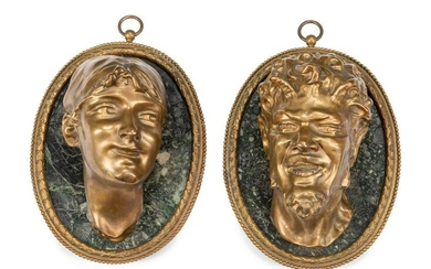 A Pair of French Gilt Bronze and Marble Relief Plaques