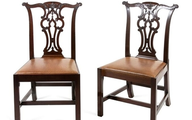 A Pair of George III Mahogany Side Chairs Height 39 x