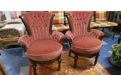 A Pair of Late Victorian Walnut Framed Salon Chairs with But...