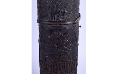 A RARE LARGE 19TH CENTURY CHINESE CARVED CANTON TORTOISESHEL...