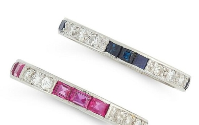 A RUBY AND DIAMOND ETERNITY RING, AND A SAPPHIRE AND