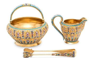 A Russian Silver-Gilt and Shaded Enamel Creamer and