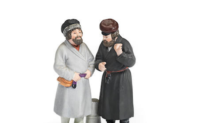 A Russian biscuit porcelain group of two men, Moscow, Gardner's factory, late 19th century