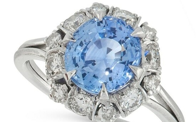 A SAPPHIRE AND DIAMOND CLUSTER RING comprising of an