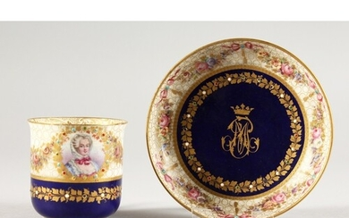 A SEVRES CRESTED RICH BLUE CUP AND SAUCER. Sevres mark in bl...