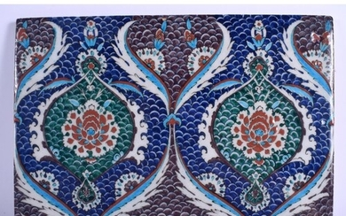 A TURKISH MIDDLE EASTERN FAIENCE GLAZED POTTERY TILE painted...
