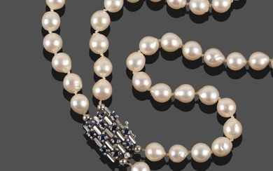 A Two Row Cultured Pearl Necklace, the 45:49 pearls knotted...