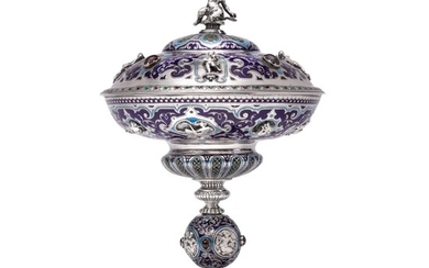 A VICTORIAN SILVER, ENAMEL, AND HARDTSTONE CUP AND COVER, ELKINGTON & CO., BIRMINGHAM, 1863