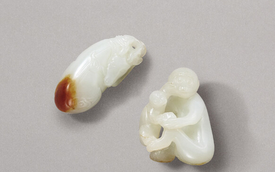 A WHITE AND RUSSET JADE 'DEER' PENDANT AND A WHITE JADE MONKEY GROUP, QING DYNASTY (1644-1911)
