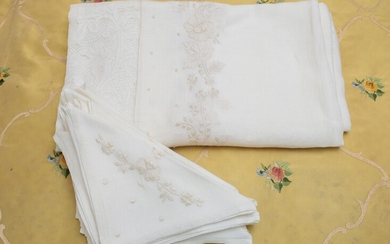 A large white linen table cloth
