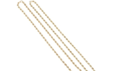 A pair of Italian gold rope necklaces