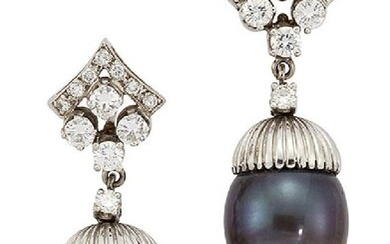 A pair of black cultured pearl and...