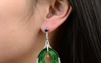 A pair of carved and pierced jade, brilliant-cut