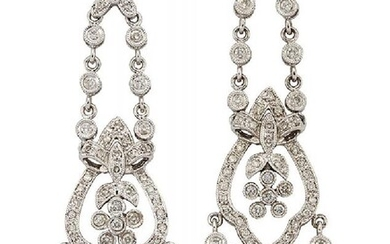 A pair of diamond pendent earrings, of...