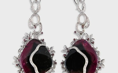 A pair of watermelon tourmaline, diamond, and fourteen