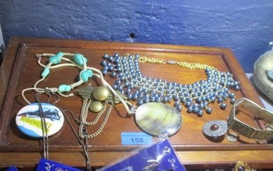 A quantity of costume jewellery to include a silver framed s...