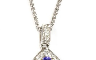 A white gold tanzanite and diamond pear-shaped pendant and chain