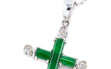 AN 18CT WHITE GOLD JADE AND DIAMOND PENDANT NECKLACE; cruciform pendant set with green jadeite jade bars, points each set with round...