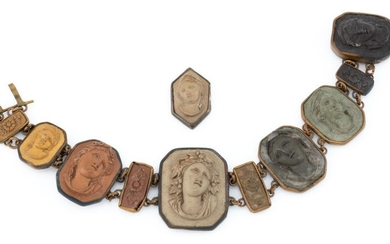 AN ANTIQUE LAVA CAMEO BRACELET; 11 plaques featuring portraits and flowers in brass frames, broken clasp, some chips, length 17cm.