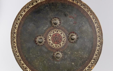 AN INDIAN LEATHER SHIELD, INDIA-AHMEDABAD,19TH CENTURY