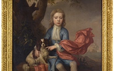ATTRIBUTED TO THOMAS MURRAY | PORTRAIT OF HENRY STEWART (D. 1717) AS A BOY, FULL-LENGTH, SEATED BENEATH A TREE WITH HIS DOG, WITH SHIPS AT SEA BEYOND