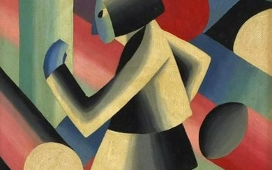 Abstract composition, cubist figure, Russian school oil
