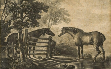After George Stubbs ARA, British 1724-1806- Two Horses; mezzotint with...
