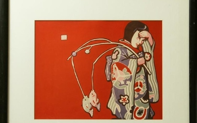 "After M. Vollbracht ""Asian Woman in Kimono"" Print"