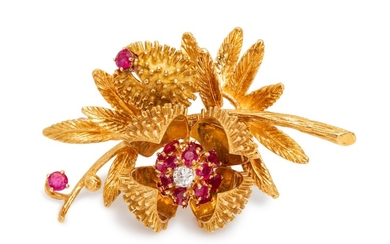 An 18 Karat Yellow Gold, Ruby and Diamond Articulated Floral Brooch,