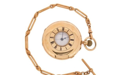 An 18ct gold half hunting cased chronograph pocket watch with yellow gold fancy-link watch chain, the white enamel dial with sweep seconds recording hand, slide action activated, the three-quarter plain signed Cahoon Ross, 16 & 18 Castle Place...