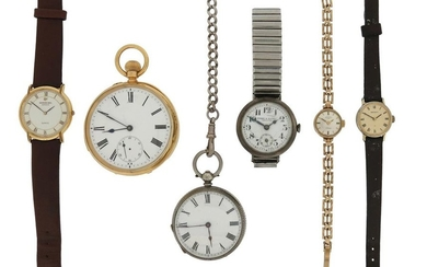 An 18ct gold open-faced pocket watch, with slide...