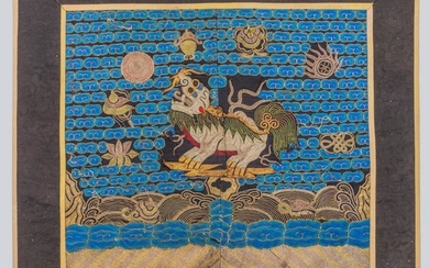 An Embroidered Military Officials Rank Badge of a Qilin, Buzi, China, Qing Dynasty.