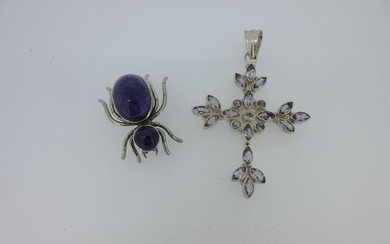 An amethyst pendant cross together with an amethyst set