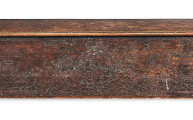 An impressive 17th century boarded cypress-wood and 'pitch'-decorated chest, North Italian, made for export to England