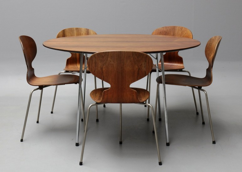Lot Art Arne Jacobsen Table With Five Matching Ant Chairs In Brazilian Rosewood 1950s 6