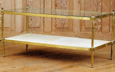 BRASS AND GLASS COFFEE TABLE C.1970